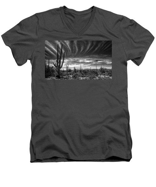 The Desert In Black And White Men's V-Neck T-Shirt by Saija  Lehtonen