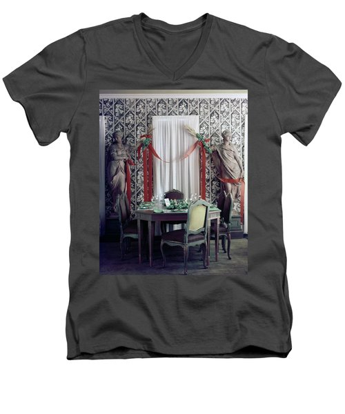 The Dining Room In James A. Beard's Home Men's V-Neck T-Shirt