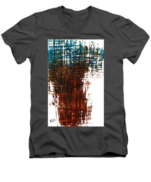 Men's V-Neck T-Shirt featuring the painting The Divine In Us 265.111011 by Kris Haas