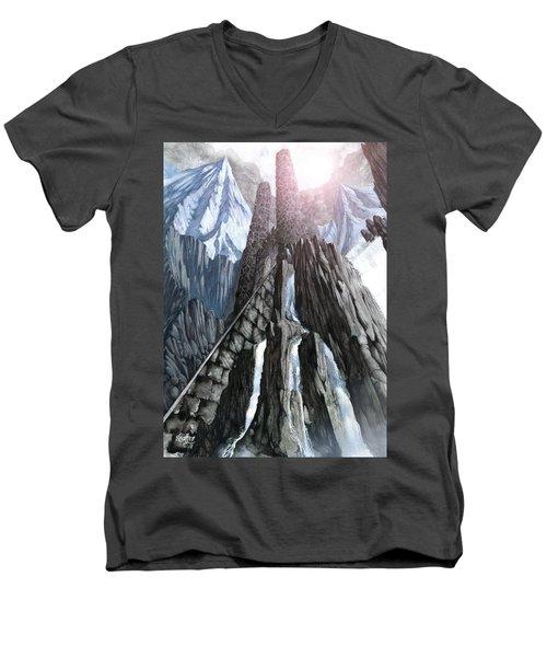 The Dragon Gate Men's V-Neck T-Shirt by Curtiss Shaffer