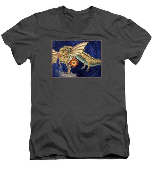 The Dragon King Men's V-Neck T-Shirt by Lynda Hoffman-Snodgrass