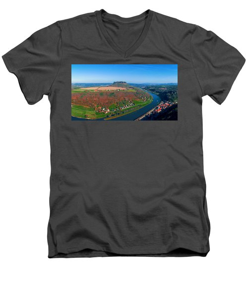The Elbe Around The Lilienstein Men's V-Neck T-Shirt