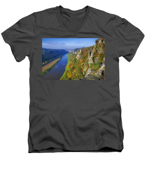 The Elbe Sandstone Mountains Along The Elbe River Men's V-Neck T-Shirt