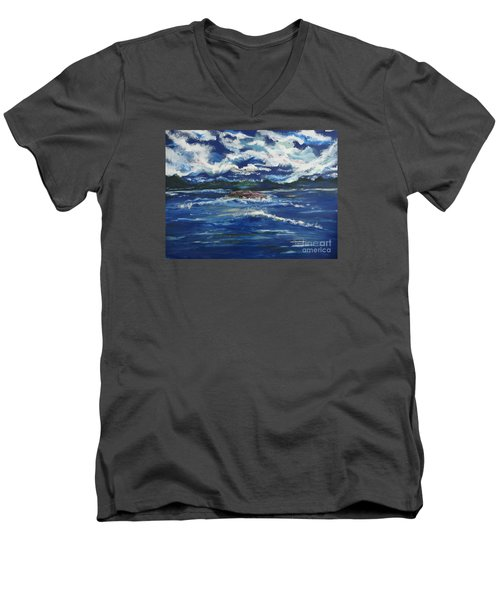 Men's V-Neck T-Shirt featuring the painting The Enchanting Sea  by Lori  Lovetere