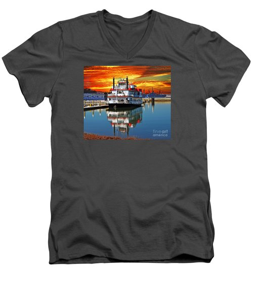 The End Of A Beautiful Day In The San Francisco Bay Men's V-Neck T-Shirt by Jim Fitzpatrick