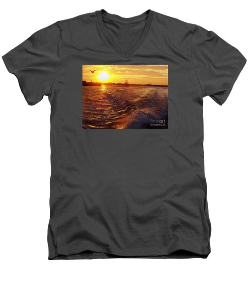 Men's V-Neck T-Shirt featuring the photograph The End To A Fishing Day by John Telfer