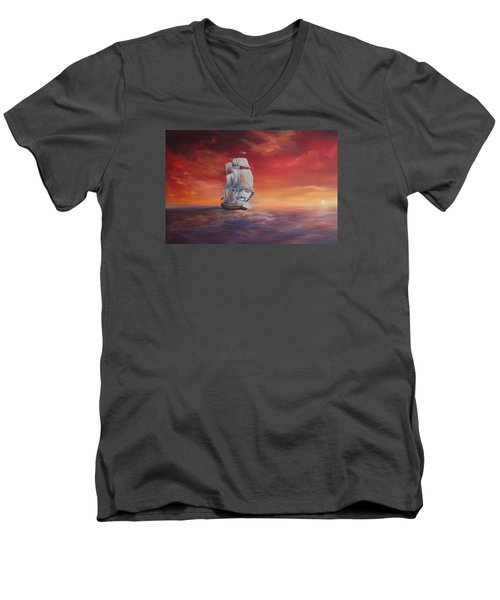 Men's V-Neck T-Shirt featuring the painting The Endeavour On Calm Seas by Jean Walker