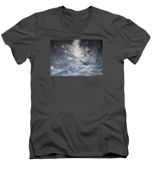 Men's V-Neck T-Shirt featuring the painting The Endeavour On Stormy Seas by Jean Walker