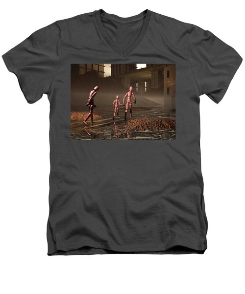 Men's V-Neck T-Shirt featuring the digital art The Exiles Sojourn by John Alexander