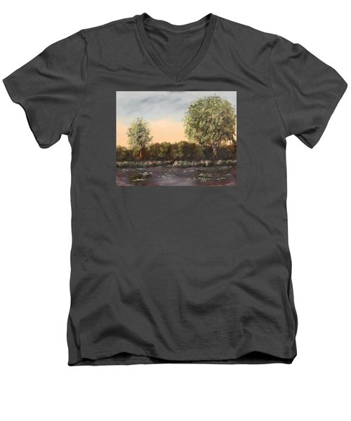 The Far End Of The Pond Men's V-Neck T-Shirt by Alan Mager