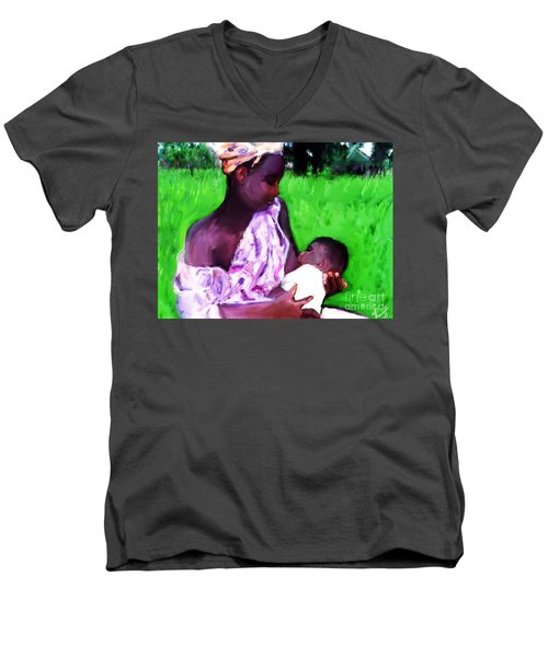 Men's V-Neck T-Shirt featuring the painting The Feeding 2 by Vannetta Ferguson