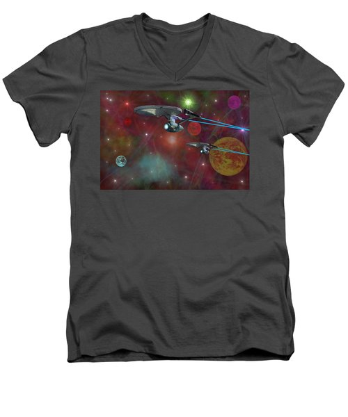The Final Frontier Men's V-Neck T-Shirt by Michael Rucker