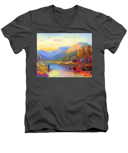Men's V-Neck T-Shirt featuring the painting Fishing And Dreaming by Jane Small