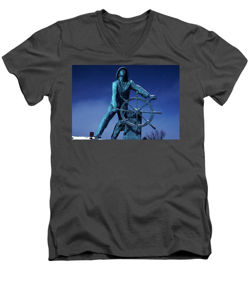 Men's V-Neck T-Shirt featuring the photograph The Fisherman Statue Gloucester by Tom Wurl