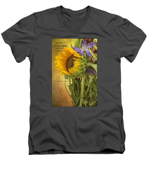 Men's V-Neck T-Shirt featuring the photograph The Flower Market by Priscilla Burgers
