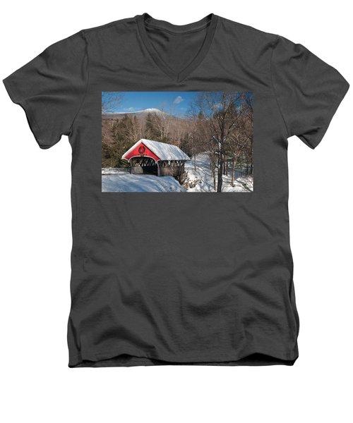 The Flume Bridge In Winter Men's V-Neck T-Shirt