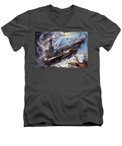 The Flying Submarine Men's V-Neck T-Shirt