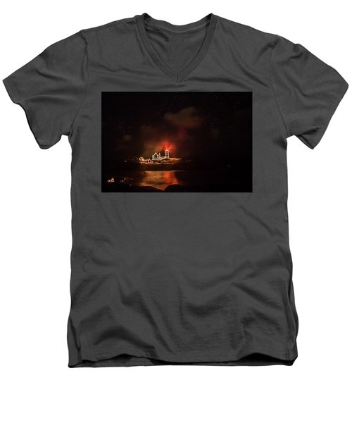 Men's V-Neck T-Shirt featuring the photograph The Fog Rolls In by Jeff Folger