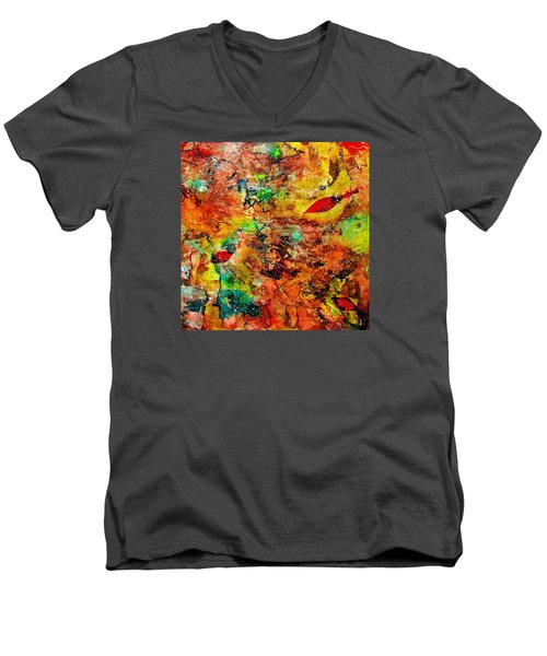 The Forest Floor Men's V-Neck T-Shirt by Carolyn Repka