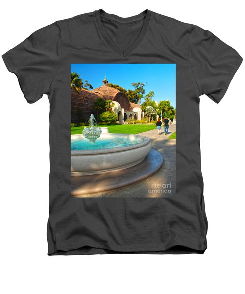 Botanical Building And Fountain At Balboa Park Men's V-Neck T-Shirt by Claudia Ellis