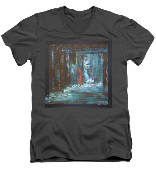 Men's V-Neck T-Shirt featuring the painting The Free Passage by Mini Arora