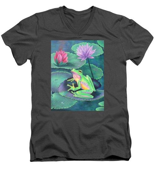 The Frog Men's V-Neck T-Shirt by Vivien Rhyan