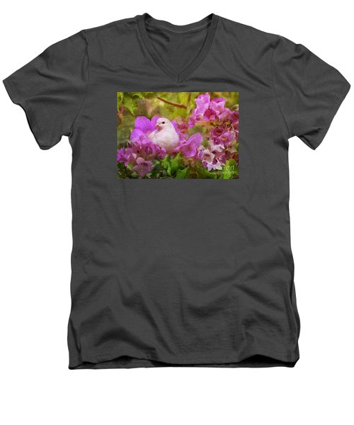The Garden Of White Dove Men's V-Neck T-Shirt by Olga Hamilton