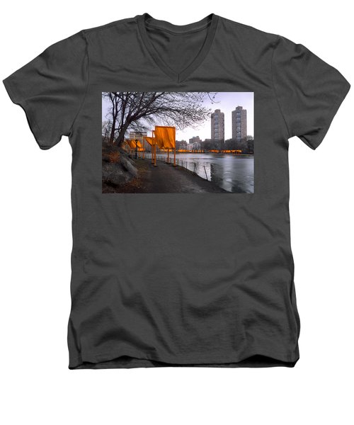 Men's V-Neck T-Shirt featuring the photograph The Gates - Central Park New York - Harlem Meer by Gary Heller
