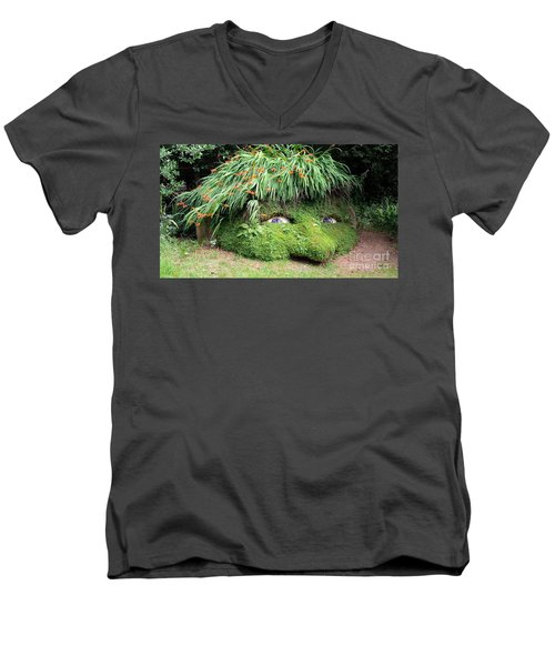 The Giant's Head Heligan Cornwall Men's V-Neck T-Shirt by Richard Brookes