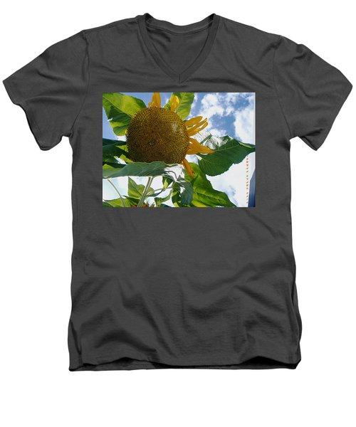 Men's V-Neck T-Shirt featuring the photograph The Gigantic Sunflower by Verana Stark