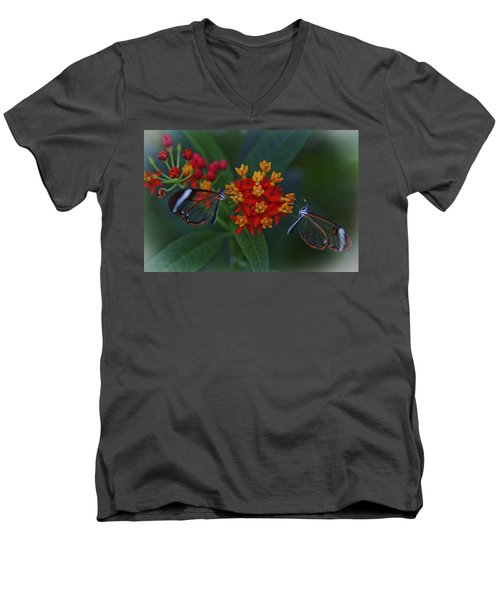 The Glasswinged Butterfly Men's V-Neck T-Shirt by Maj Seda