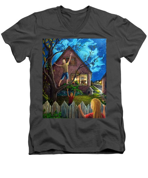 Men's V-Neck T-Shirt featuring the painting The Gleaners by Matt Konar