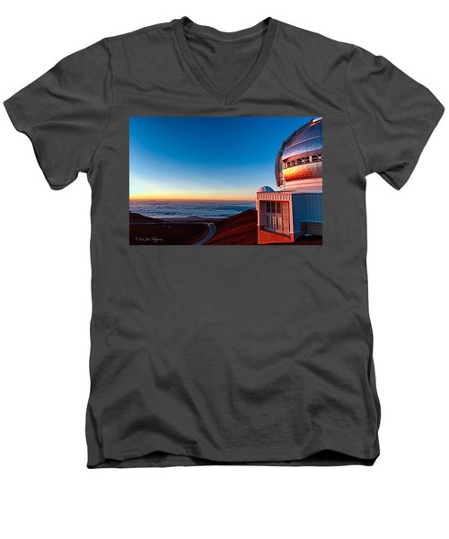 Men's V-Neck T-Shirt featuring the photograph The Glow Of The Warm Sunset Reflecting Off Of The Gemini 8.1m Op by Jim Thompson