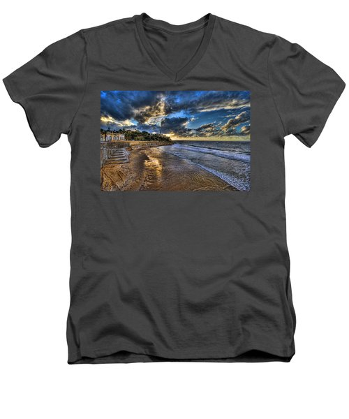 the golden hour during sunset at Israel Men's V-Neck T-Shirt
