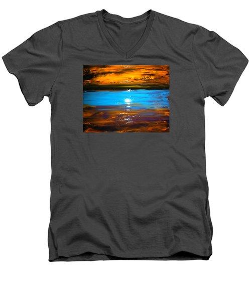 The Golden Sunset Men's V-Neck T-Shirt by Kicking Bear  Productions