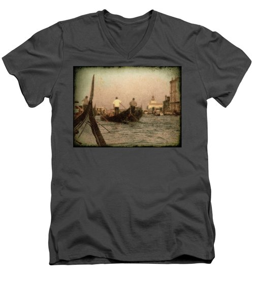 Men's V-Neck T-Shirt featuring the photograph The Gondoliers by Micki Findlay