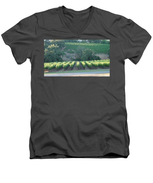 Men's V-Neck T-Shirt featuring the photograph The Grape Lines by Shawn Marlow