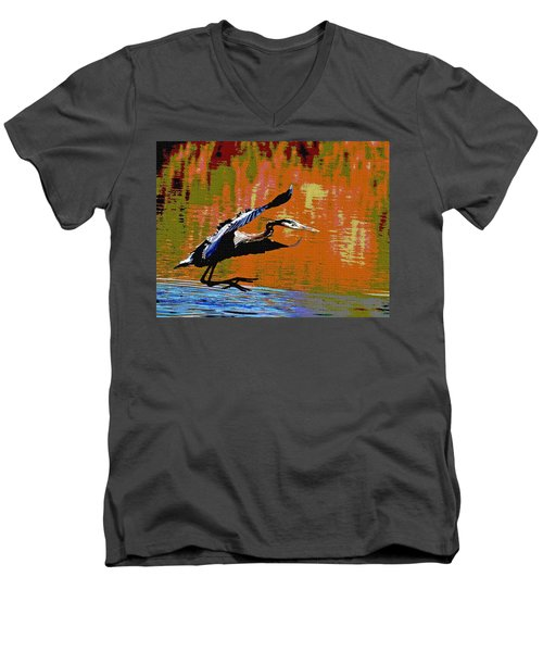 The Great Blue Heron Jumps To Flight Men's V-Neck T-Shirt by Tom Janca