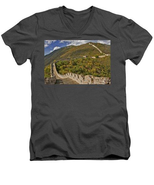 The Great Wall Of China At Mutianyu 2 Men's V-Neck T-Shirt
