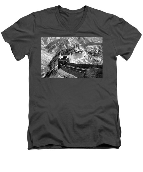 The Great Wall Of China Men's V-Neck T-Shirt by Sebastian Musial