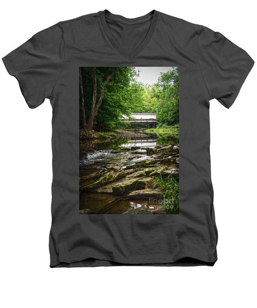 Men's V-Neck T-Shirt featuring the photograph The Green Sergeants Covered Bridge II by Debra Fedchin