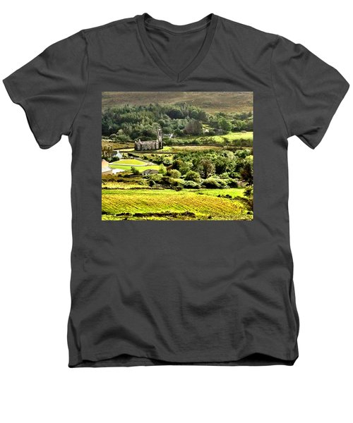 Men's V-Neck T-Shirt featuring the photograph The Green Valley Of Poisoned Glen by Charlie and Norma Brock