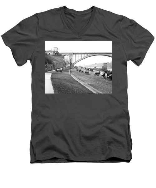 The Harlem River Speedway Men's V-Neck T-Shirt by Detroit Publishing Company
