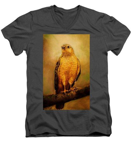The Hawk Men's V-Neck T-Shirt by Jean Cormier