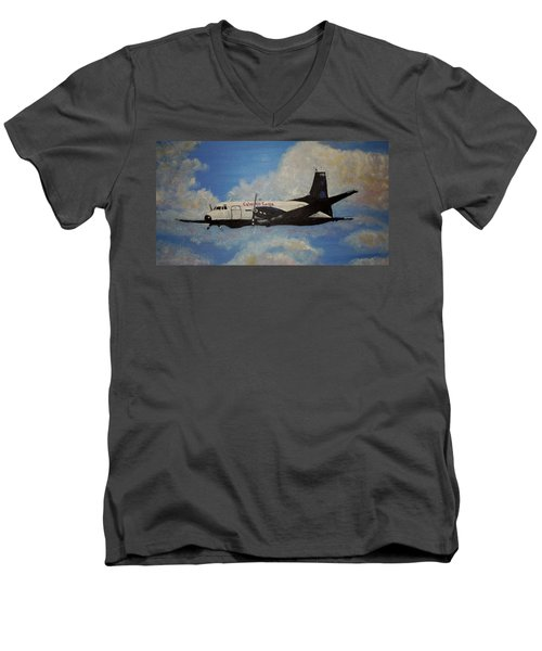 Men's V-Neck T-Shirt featuring the painting The Hawker by Marilyn  McNish