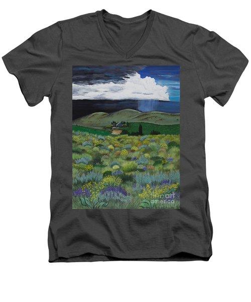 The High Desert Storm Men's V-Neck T-Shirt by Jennifer Lake