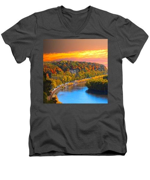 The Hobo Train Up The Mississippi Men's V-Neck T-Shirt