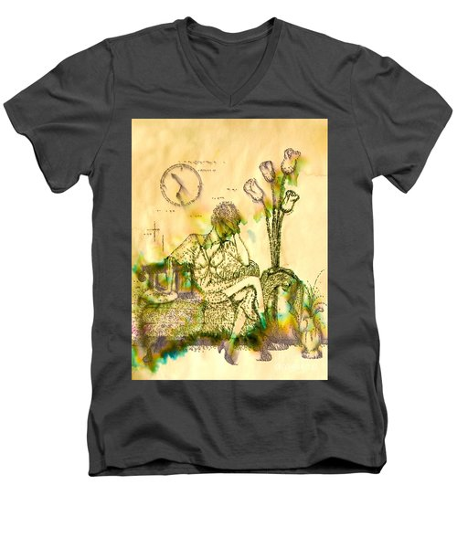 The Hold Up Sepia Tone Men's V-Neck T-Shirt