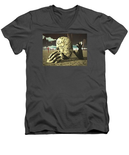 Men's V-Neck T-Shirt featuring the digital art The Immutable Dream by John Alexander