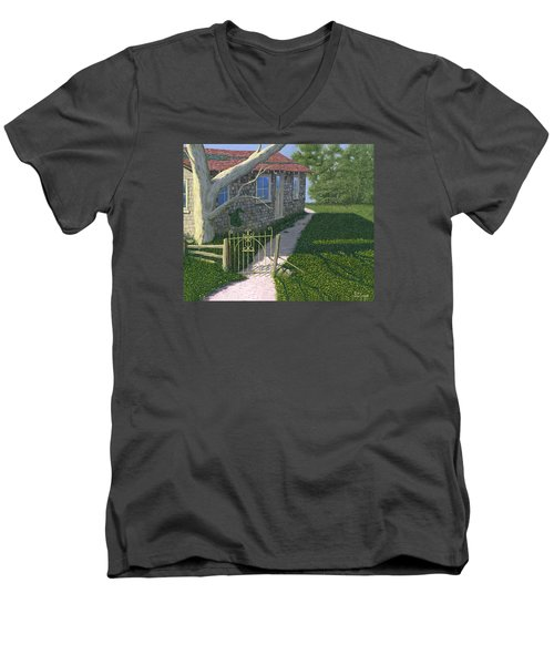 Men's V-Neck T-Shirt featuring the painting The Iron Gate by Gary Giacomelli